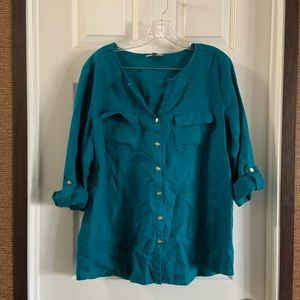 JM Collection Teal Roll Tab Button Up Linen Blouse